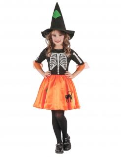Hexenskelett-Mädchenkostüm Zauberin schwarz-orange