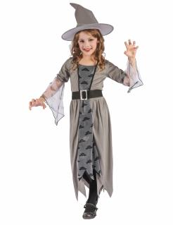 Hexe Mädchenkostüm Halloween grau-schwarz