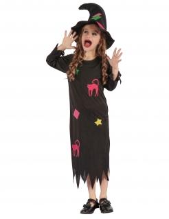 Witzige Hexe Mädchenkostüm schwarz-bunt