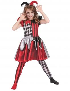 Klassisches Böser Harlekin Mädchenkostüm schwarz-rot-weiss