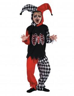 Unheimliches blutender Harlekin Jungenkostüm rot-schwarz-weiß