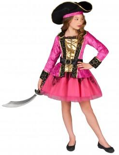 Piratinnen-Mädchenkostüm pink-gold-schwarz