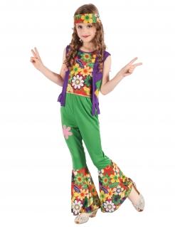 Flower Power-Mädchenkostüm Hippie bunt