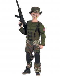Realistisches amerikanischer Soldat Jungenkostüm grün-camouflage