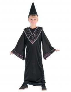 Zauberlehrling-Kinderkostüm Magier schwarz