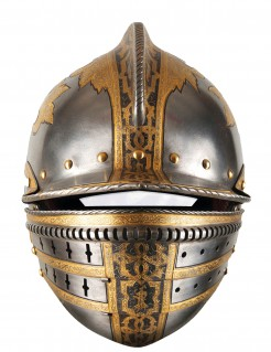 Ritterhelm Pappmaske silber-gold 29x21cm