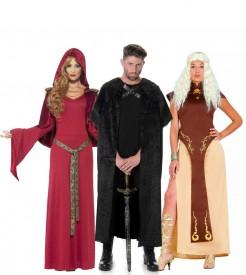 Mittelalter Gruppenkostüm rot schwarz braun