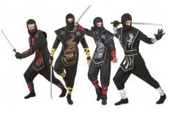 Ninja-Gruppenkostüm Fasching schwarz-rot-silber-gold