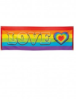 Regenbogen Flagge Love Party-Deko bunt 74x220cm