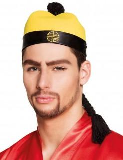 Chinesen-Hut mit Zopf schwarz-gelb