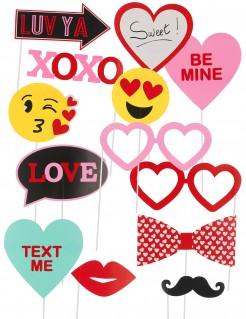 Valentinstag Foto-Set 13-teilig bunt