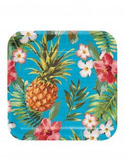 Pappteller Hawaii-Motiv 8 Stück bunt