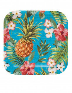 Hawaii Pappteller Ananas Party-Deko 8 Stück bunt 17cm