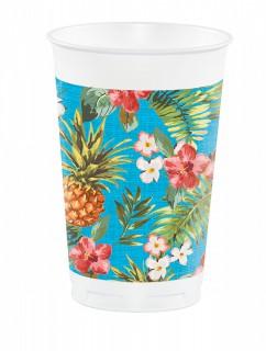 Hawaii Becher Ananas Party-Deko 8 Stück bunt 473ml