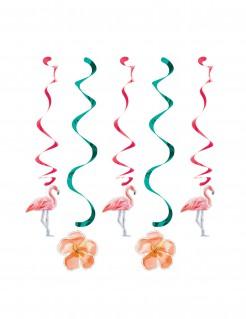 Flamingo und Blumen Deko-Spiralen Party-Deko 5Stück bunt 60cm