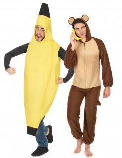 Affe und Banane-Paarkostüm für Erwachsene Karneval braun-gelb