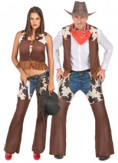 Cowboy-Paarkostüm Karneval braun