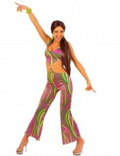Sexy 70er-Jahre Disco-Damenkostüm Catsuit bunt