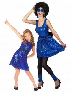 Glitzerndes Disco-Paarkostüm für Mutter und Tochter blau