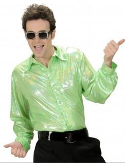 70er Disco Glitzer-Hemd hellgrün