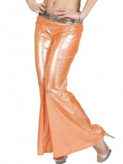 70er Disco Glitzer-Schlaghose Damen orange