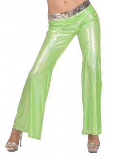 70er Disco Glitzer-Schlaghose Damen hellgrün
