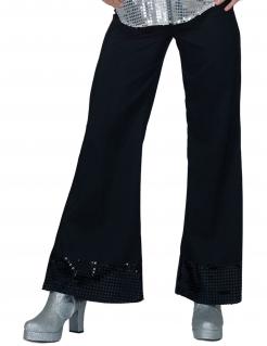 Paillettenhose im Disco-Stil für Damen schwarz