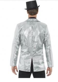 70er Jahre Disco Pailletten-Jacke für Herren silber