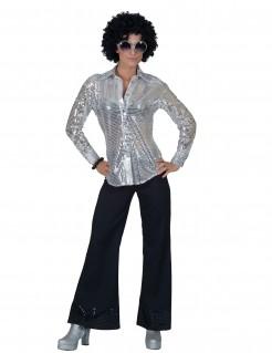 Damen Disco Hemd mit Pailletten silber