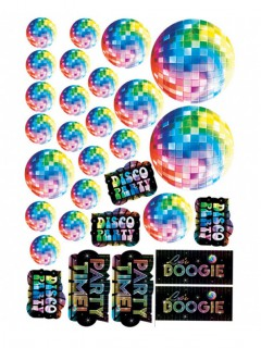 70er Disco Cut-Outs Discokugel Party-Deko-Set 30-teilig bunt