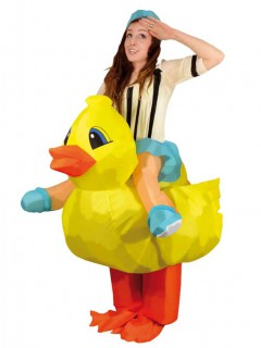 Aufblasbares Carry Me Quietscheente Unisex-Kostüm gelb