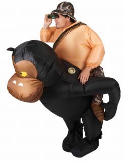 Aufblasbares Carry-Me-Affenkostüm für Erwachsene schwarz-braun
