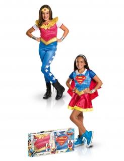 Kostümkoffer Supergirl™ und Wonder Woman™ für Mädchen Karneval bunt