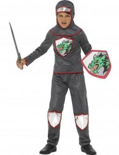 Ritter-Jungenkostüm mit Drachenmotiv grau