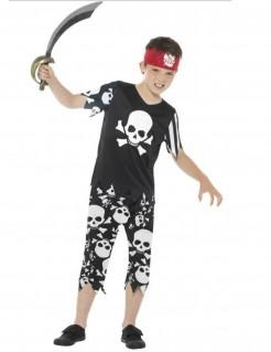 Piraten-Kinderkostüm Totenschädel-Motiv schwarz-weiss