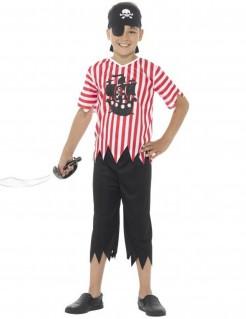 Gestreiftes Piraten-Kinderkostüm rot-schwarz-weiss