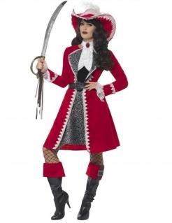 Elegante Barock-Piraten-Kapitänin Damenkostüm rotweiss-grau