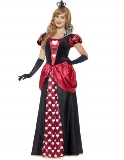 Herzkönigin Damenkostüm Märchen schwarz-rot-weiss