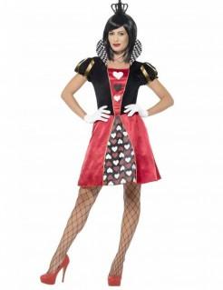 Märchen-Herzkönigin Damenkostüm schwarz-rot-weiss