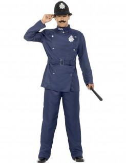Englischer Polizist Polizei-Herrenkostüm blau-schwarz