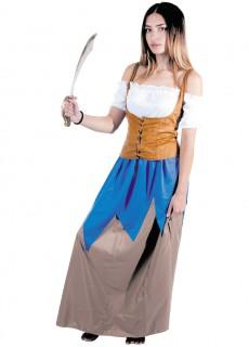 Romantisches Piratinnenkostüm für Damen - weiß/braun/blau