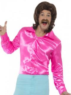 Neon-Herrenhemd Disco-Hemd neonrosa