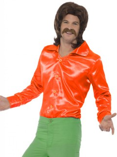 Disco Satin-Hemd 70er-Jahre neonorange