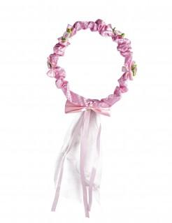 Blüten-Krone mit Band für Mädchen rosa