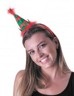 Kleine Weihnachtselfe - Haarreif für Erwachsene - grün-rot