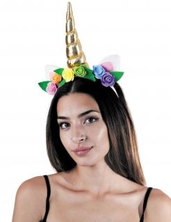 Einhorn-Haarreif mit Blumen gold-bunt