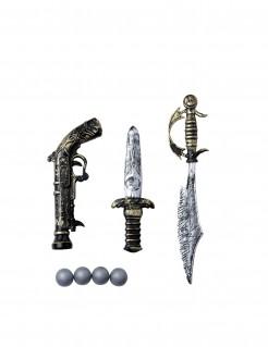 3-teiliges Waffenset Pirat schwarz-silber