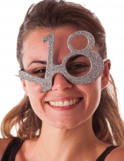 18. Geburtstag Glitzer-Brille silber