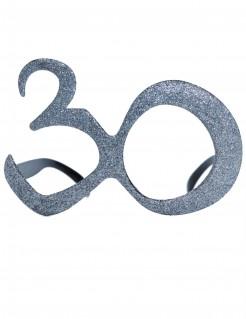 30. Geburtstag Glitzer-Brille silber