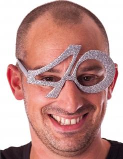 40. Geburtstag Glitzer-Brille silber